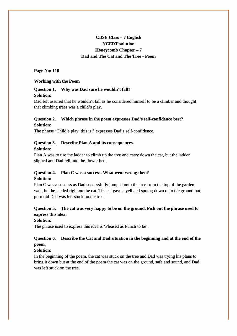 NCERT Solutions For Class 7 English Honeycomb Poem Chapter 7 Dad and the Cat and the Tree