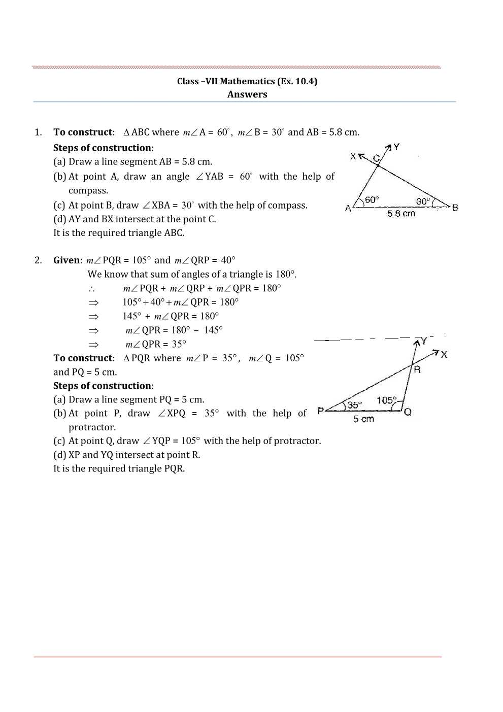NCERT Solutions For Class 7 Maths Chapter 10 Practical Geometry