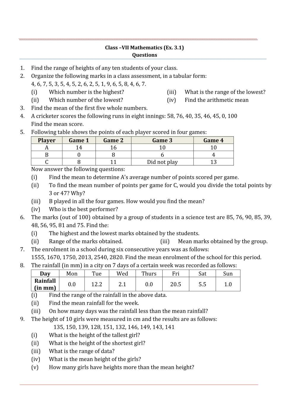 NCERT Solutions For Class 7 Maths Chapter 3 Data Handling
