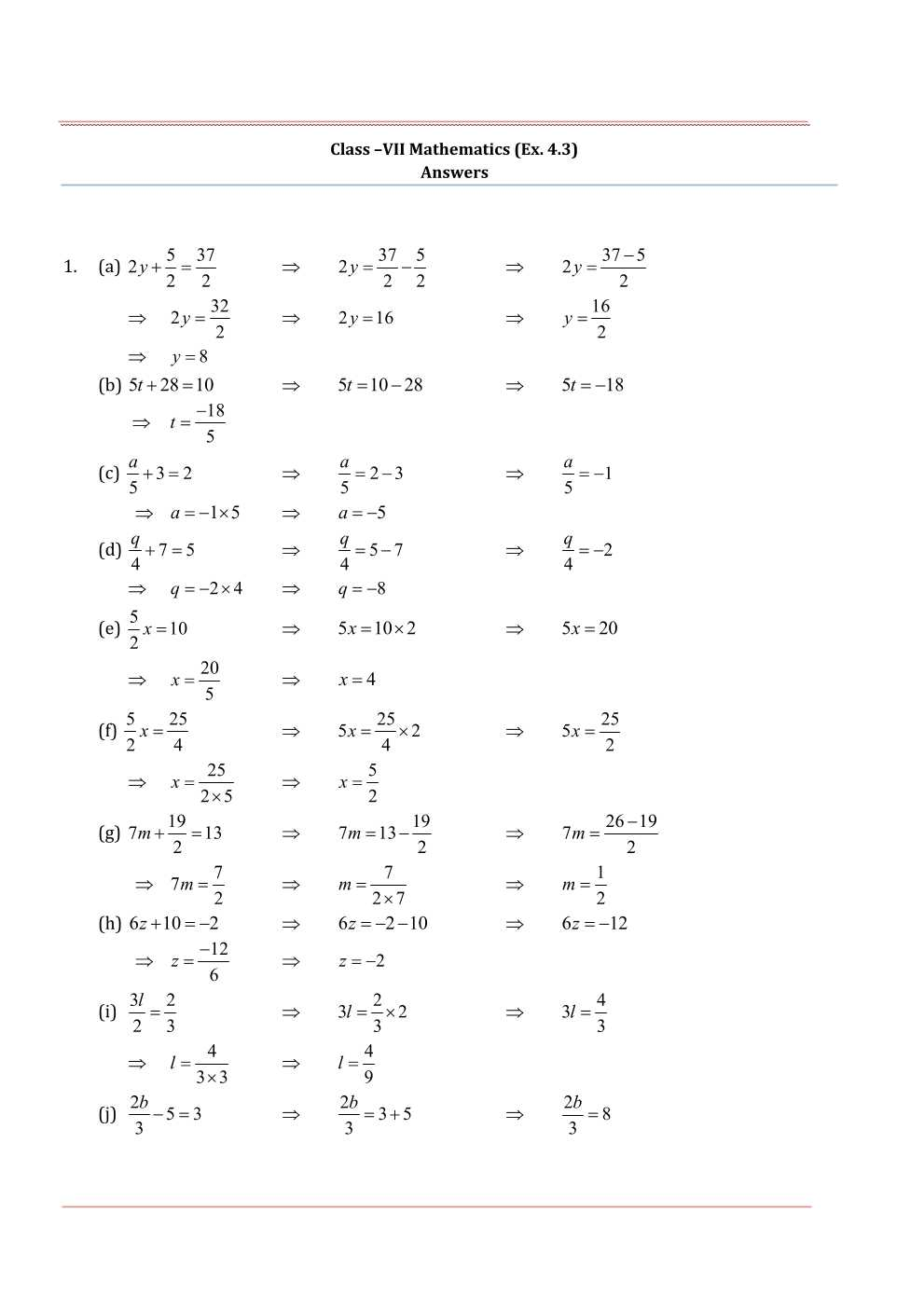 NCERT Solutions For Class 7 Maths Chapter 4 Simple Equations