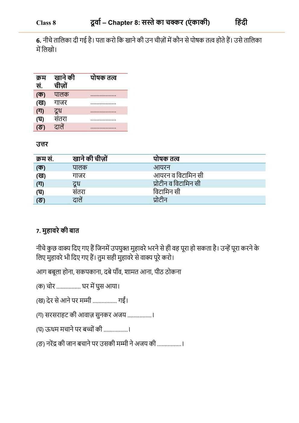 NCERT Solutions For Class 8 Hindi Durva Chapter 8