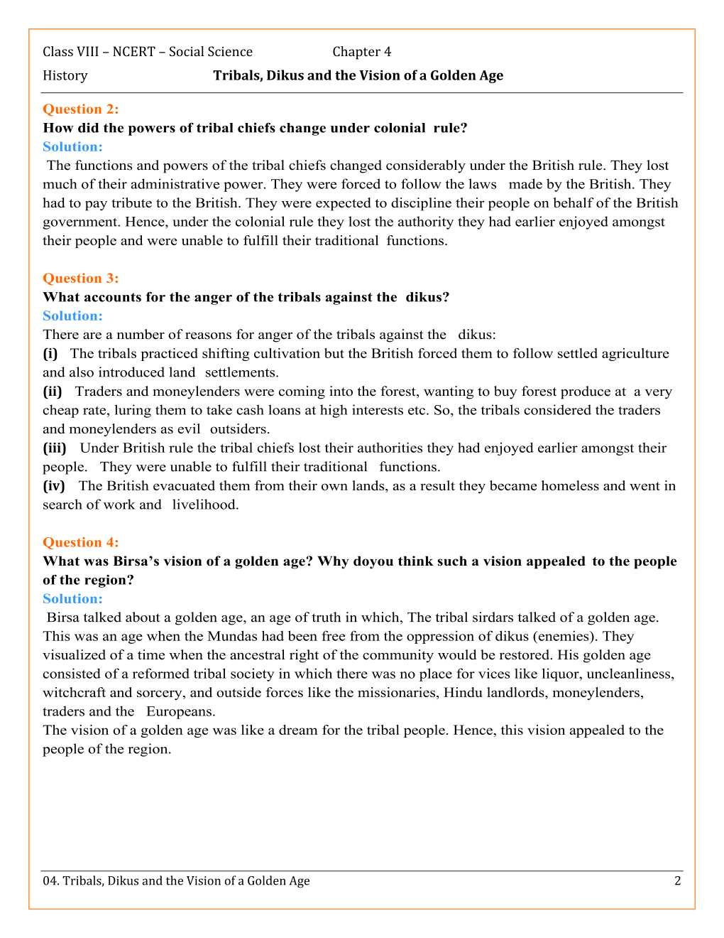NCERT Solutions For Class 8 Social Science Our Pasts 3 Chapter 4